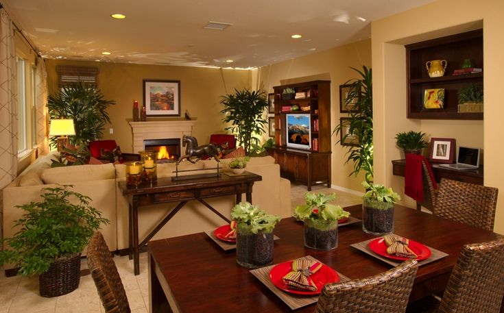 Layout idea to separate living room / dining room combo space. Note the accent lighting and use of plants.
