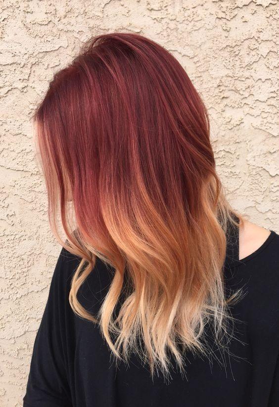 18 Ideas de pelo rojo llamativo Ombre                                                                                                                                                                                 Más