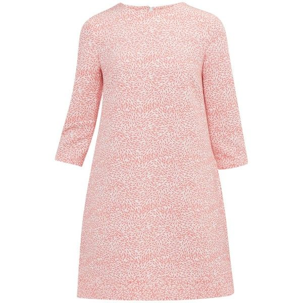 Ted Baker Colour By Numbers Jiggle Fish Print Shift Dress , Coral ($200) ❤ liked on Polyvore featuring dresses, coral, short pink dress, long-sleeve midi dresses, 3/4 sleeve dress, pink midi dress and 3 4 length sleeve dress