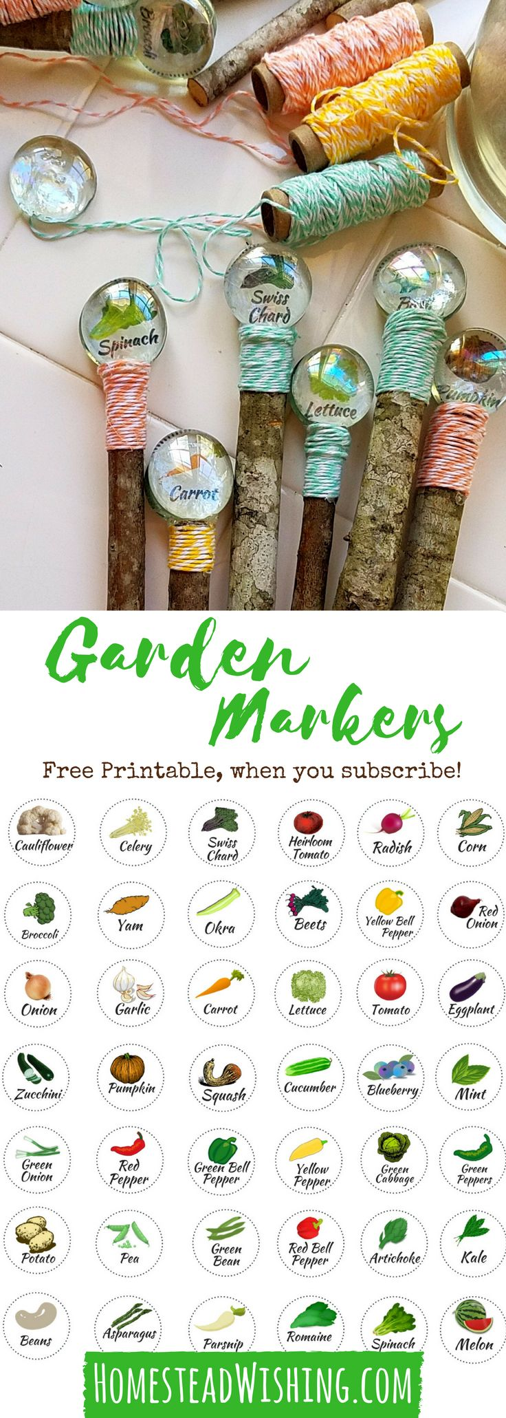 DIY Garden Markers - Free Printable Garden Markers - Cheap Garden Markers - Glass Gem Garden Markers - Garden Marker Tutorial | Homestead Wishing, Author Kristi Wheeler | homesteadwishing.... | diy-garden-markers, cheap-garden-markers
