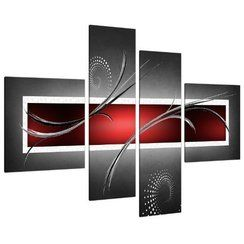 photo Impression sur Toile - Abstrait Rouge, Noir et Gris - 4 Parties - Wallfillers Canvas 4091