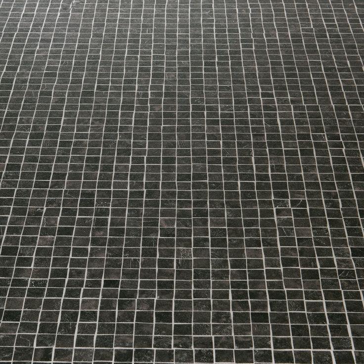 Atlas 599 chagall black mosaic tile effect vinyl flooring for Black tile effect vinyl flooring