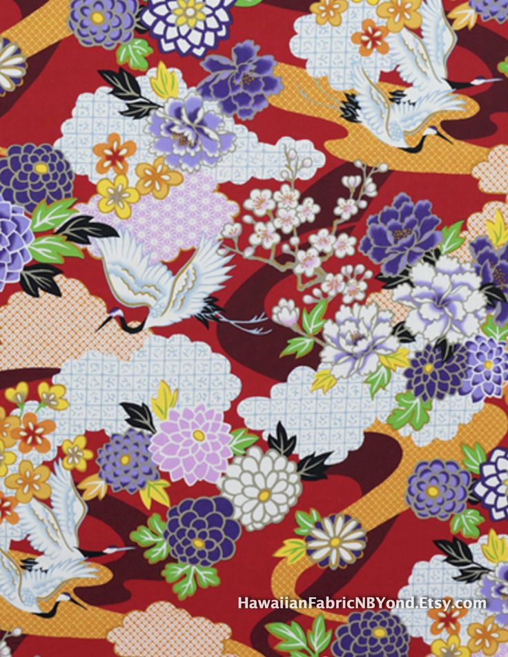 SALE!! Japanese fabric: Colorful flowers and cranes on a red background. Cotton for Sale at HawaiianFabricNBYond.Etsy.com