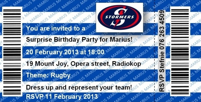 Stormers Rugby Ticket Invitation - Cool Idea for a rugby lover!