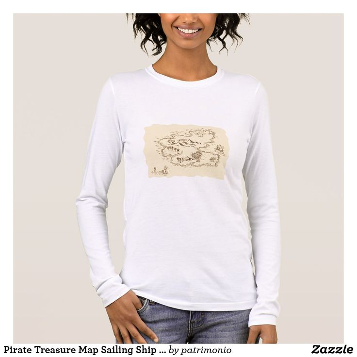Pirate Treasure Map Sailing Ship Drawing. Ladies long sleeve t-shirt showing a sketch style illustration of a pirate treasure map and sailing ship set on isolated background. #treasuremap #map #tshirt