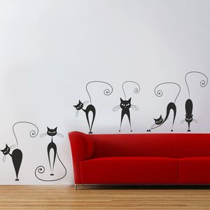 Samolepka na zeď Černé kočky, 70x50 cm