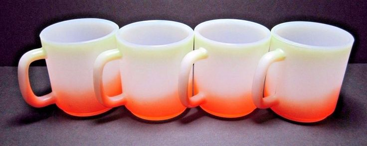 Four Mid Century Lime Green Orange White Milk Glass Coffee Cocoa Tea Mugs Cups #Unbranded