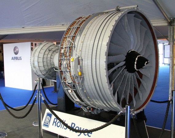 Rolls Royce Trent 1000 Turbofan Jet Engine   Made of 152,455 LEGO Bricks