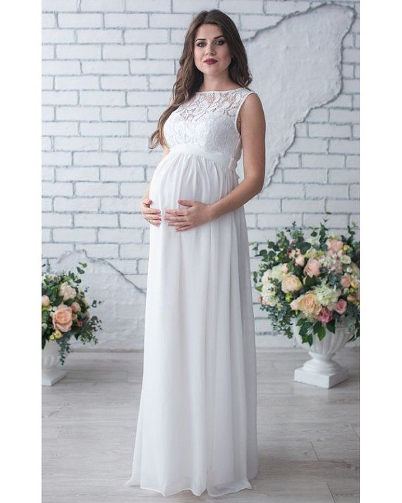 White Long Dress Pregnant.Maternity Gown For Photo By Dioriss