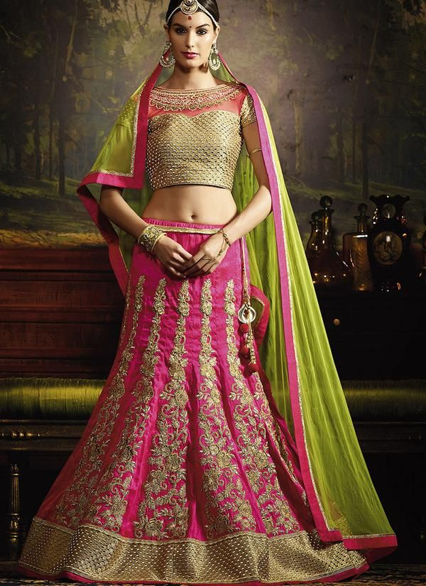 Embroidered Art Silk Wedding Lehenga in Pink