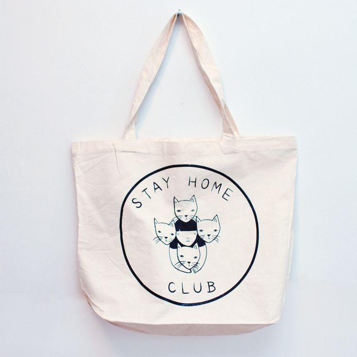 stay home club tote bag