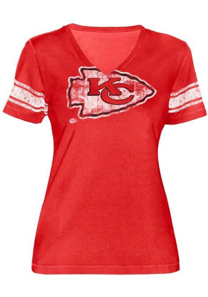 Kansas City Chiefs Women's Red Short Sleeve Arrowhead Shirt http://www.rallyhouse.com/kansas-city-chiefs-womens-red-first-pick-v-neck-t-shirt-9430209?utm_source=pinterest&utm_medium=social&utm_campaign=Pinterest-KCChiefs $29.99
