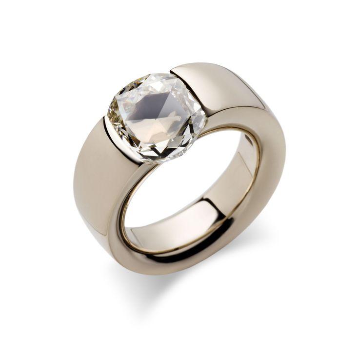 Anello in oro bianco diamante rose cut #Vhernier