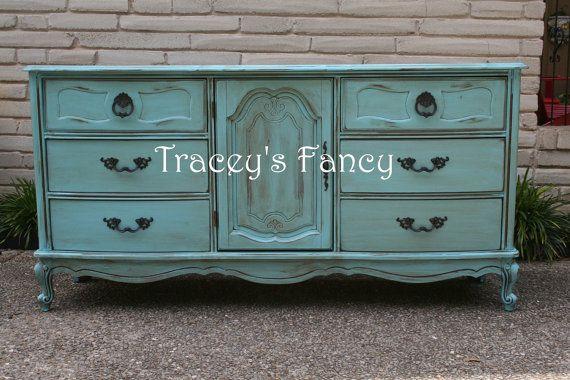Custom Painted Vintage Dresser by TraceysFancy on Etsy, $780.00  Furniture Dresser Painted tbellion traceysfancy dresser changing table buffet chalk paint distressed nursery shabby vintage
