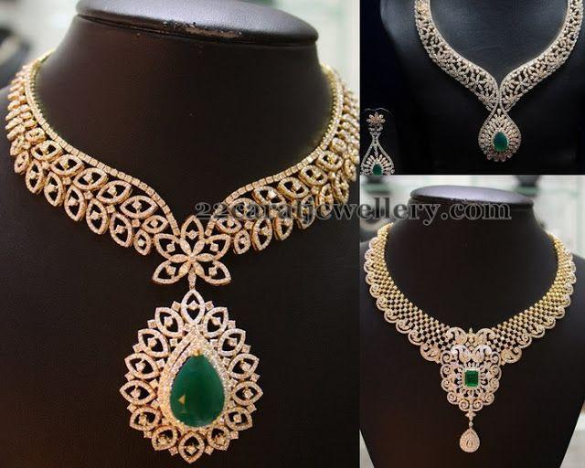 Jewellery Designs: Closed Setting Diamond Emerald Necklaces