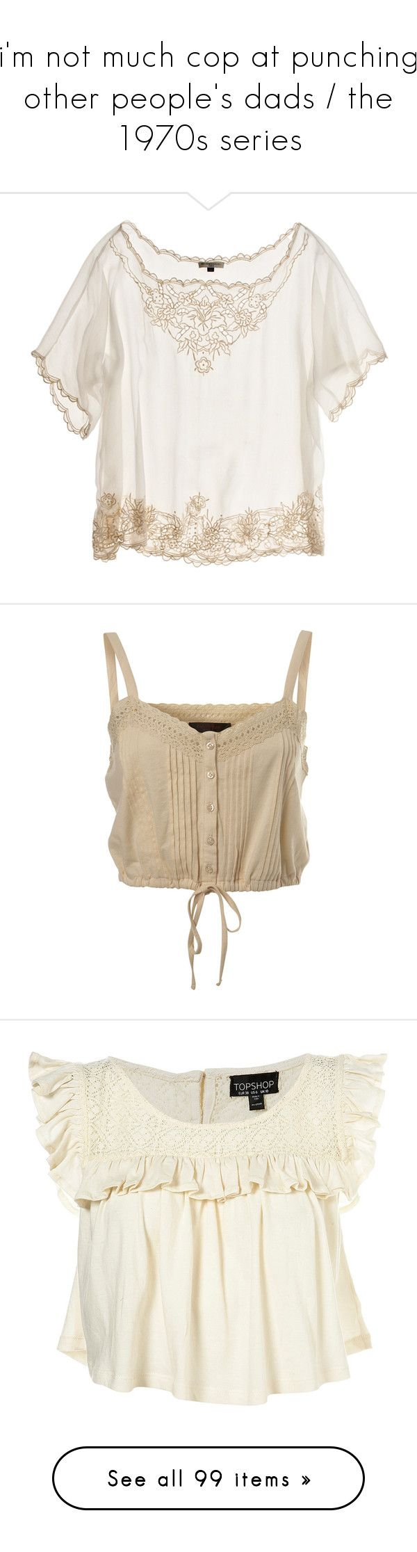 """""""i'm not much cop at punching other people's dads / the 1970s series"""" by viten ❤ liked on Polyvore featuring tops, blouses, shirts, t-shirts, women, white eyelet blouse, grommet top, shirt top, shirt blouse and white eyelet shirt"""