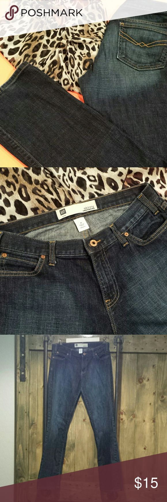 Skinny Stretch Jeans Size 10 by the Gap, a little distressed on heels. Worn just right! GAP Jeans Skinny