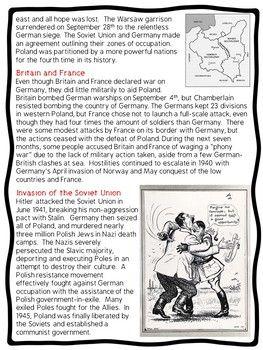 World War II (2)- Invasion of Poland Reading Comprehension
