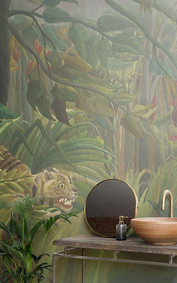 Décoration murale Tigre dans une tempête tropicale par Rousseau