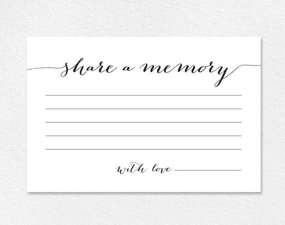 Share A Memory Card Memory Cards Share A Memory Printable Etsy In 2021 Memorial Cards Memorial Cards For Funeral Memory Cards