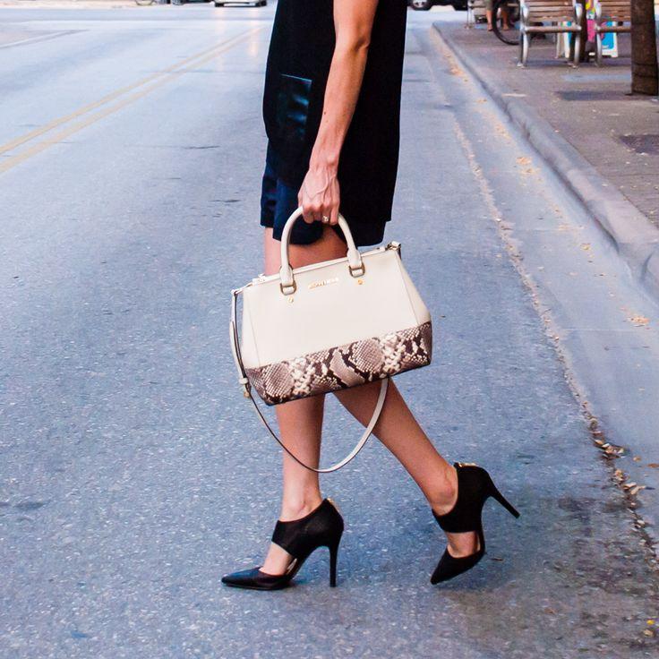 Ann Taylor top, Zara shorts, Jessica Simpson heels, MICHAEL Michael Kors Sutton Satchel - Gold Lion Style