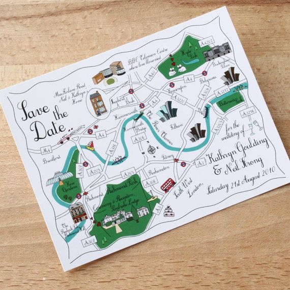 100 Custom Map Postcards  Cute Wedding Map We're by cutemaps, $240.00