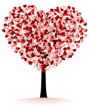 Hearts tree. Would be cute to paint with finger prints. His red, hers pink.