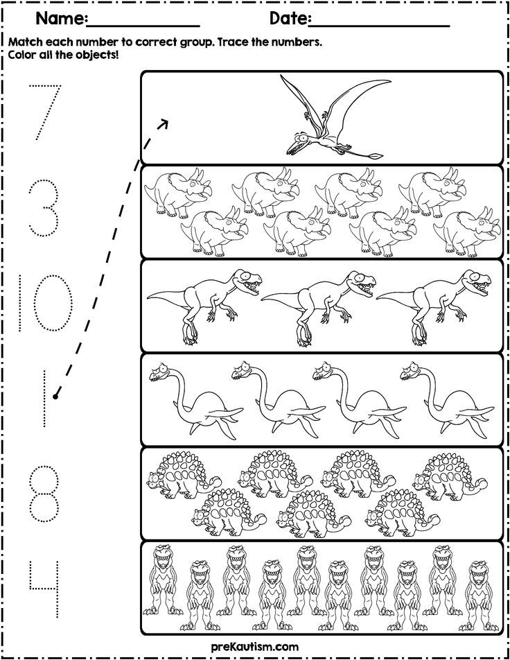 Count And Match Dinosaurs Dinosaurs Preschool Dinosaur Worksheets Preschool Worksheets