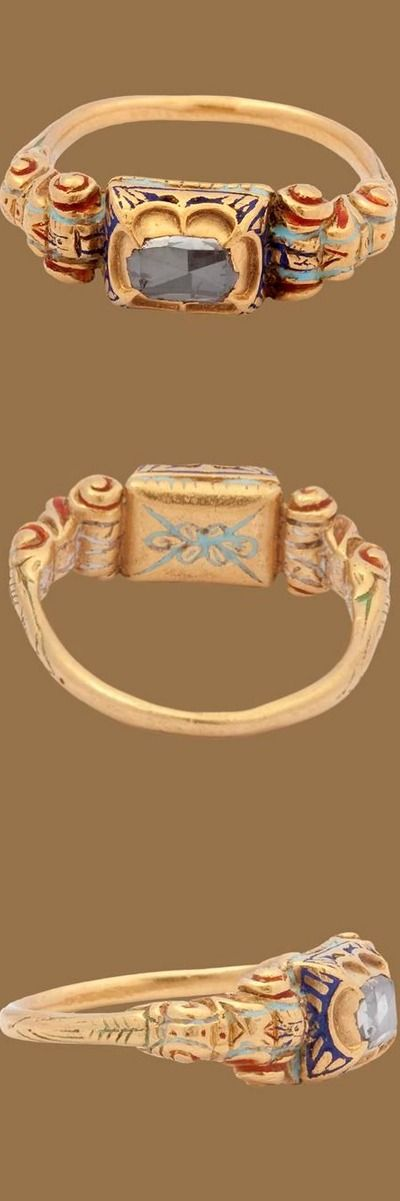 Renaissance Diamond Ring. This beautiful and substantial Renaissance diamond ring bears much of its original enamel in red, green, and blue. The rectangular box bezel holds a large rose cut stone that literally sparkles. Especially on the shoulders, the virtuoso Renaissance goldsmith work is technically quite skillful. Already in the 15th century diamonds were associated with betrothal and marriage. Italy?, c. 1600