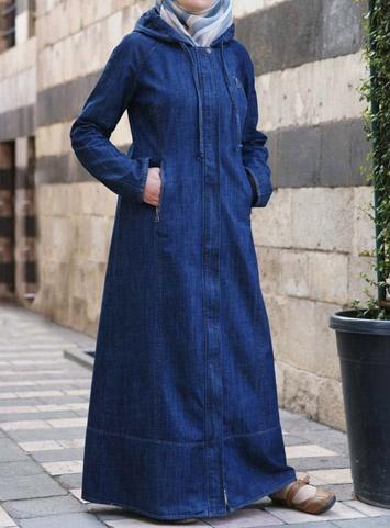 Denim Active Hoodie Jilbab