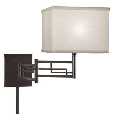 portfolio 12 in h olde bronze swing arm wall mounted lamp with fabric - Wall Mounted Bedroom Lights