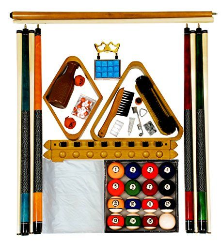 """Pool table accessory kit includes - 4 - 57"""" two piece white maple cues - Two piece cue bridge * Complete set of antique style regulation size, and weight balls - oak finish 8 cue rack * Cue repair kit - 9"""" nylon brush - Rail brush - 2 tip sharpeners - 15 ball wood rack - 9 ball wood rack * 9' clear pool table cover with weights - tally balls - 12 pieces of blue chalk * (Placed within the Amazon Associates program) * 16:23 Mar 22 2017"""