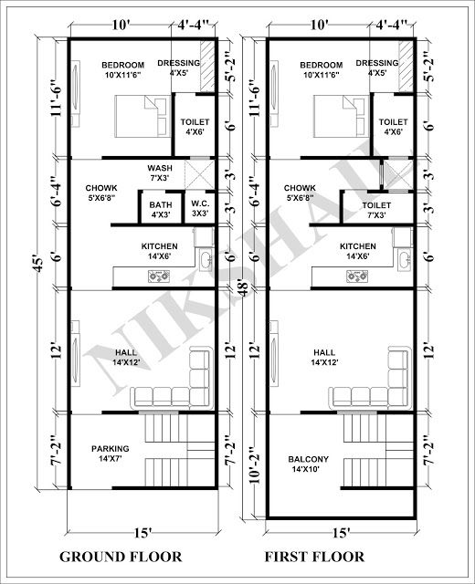 15X45 House Plan With 3d Elevation By Nikshail