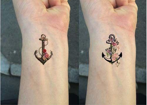 wrist floral anchor tattoo çiçekli çapa dövmesi