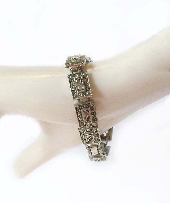 Vintage Marcasite Bracelet Antiqued Silver by MargsMostlyVintage, $13.00
