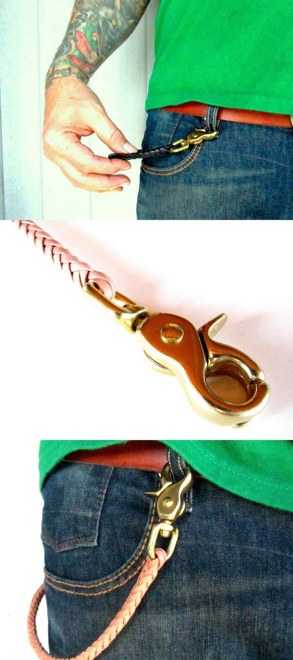 Braided Leather & Brass Wallet Chain from San Filippo Leather
