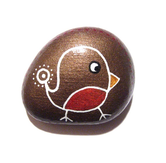 Christmas Robin painted stone/paperweight by Ludibund on Etsy, $10.00
