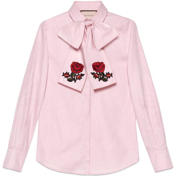 Gucci Washed Oxford Shirt With Scarf found on Polyvore featuring tops, gucci, oxford shirt, pink oxford shirt, gucci tops and pink top