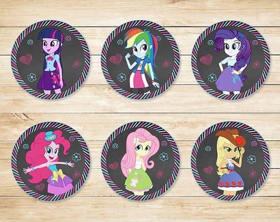 Printable Equestria Girls Cupcake Toppers by ApothecaryTables