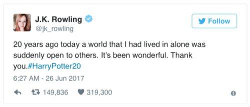 micdotcom:JK Rowling tweets an emotional thank you on the 20th...