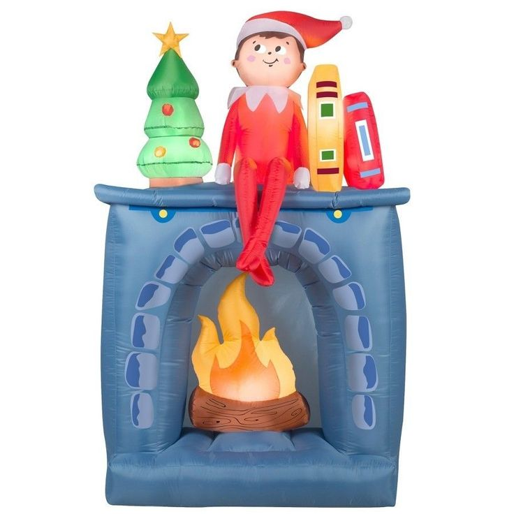 #Christmas #Outdoor #Inflatable #Elf and #Fireplace #Yard #Lawn #Holiday #Home #Decor New