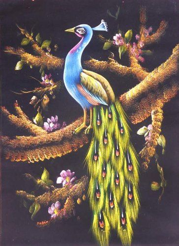 A Peacock Sitting On Tree A Painting Made On Velvet Cloth