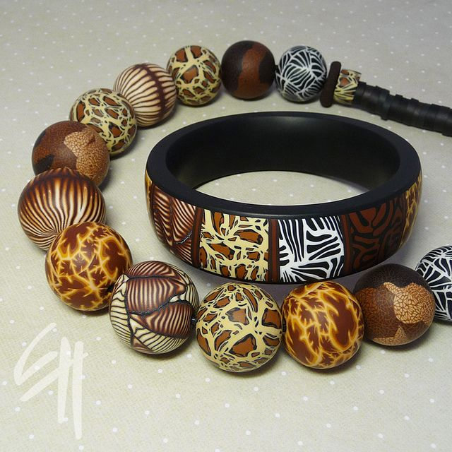 Polymer Clay bracelet and necklace. Safari set   Flickr - Photo Sharing!