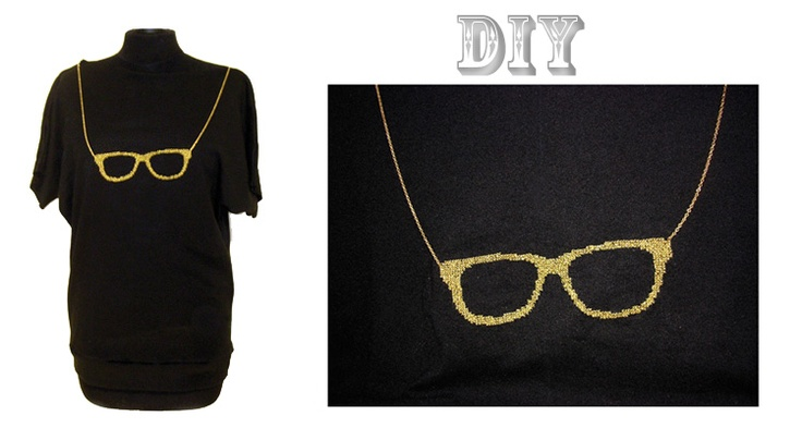 DIY-fiche creative- point de croix: Tshirt lunettes fashion.  Cross-stitch