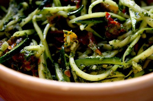 Zucchini noodles with dried tomatoes.