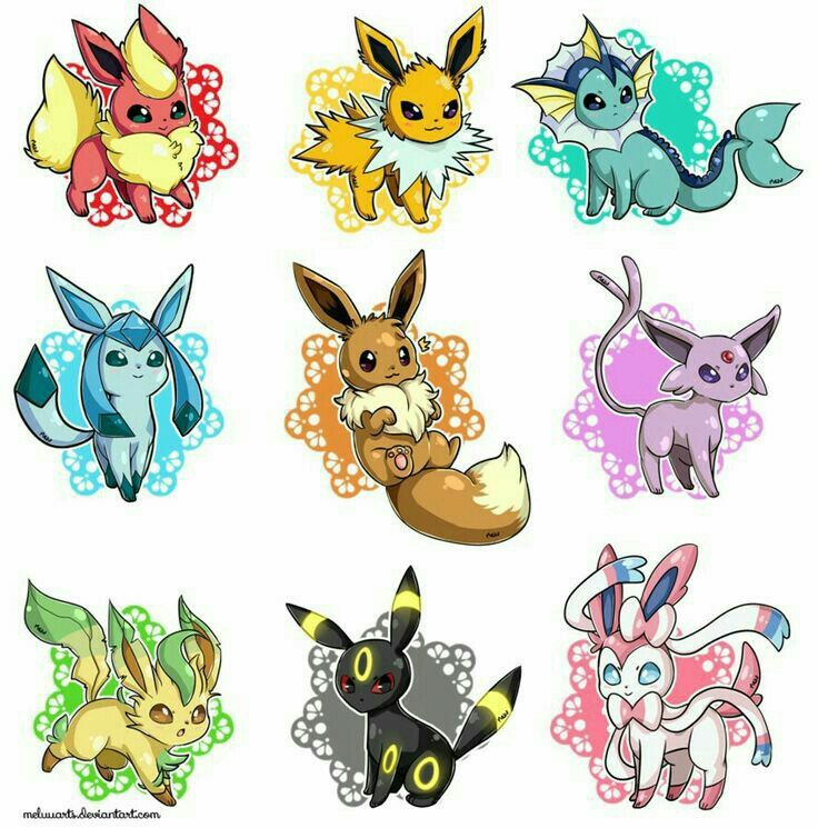 Eevee evolutions, Flareon, Jolteon, Glaceon, Leafeon, Umbreon, Espeon, Sylveon, Vaporeon, cute; Pokémon
