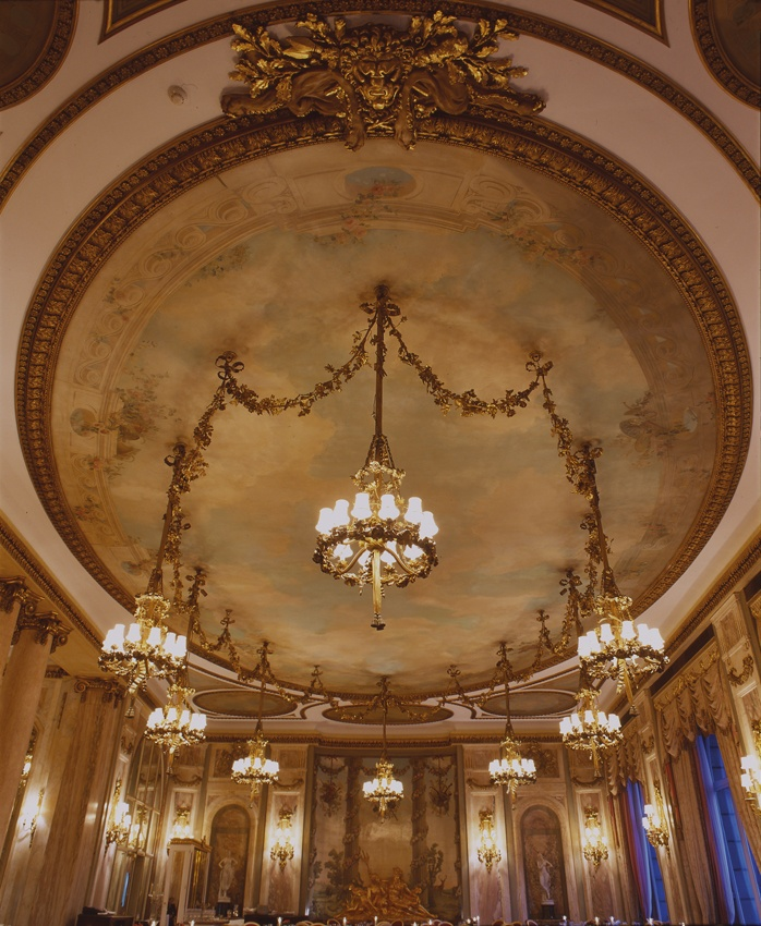 The Restaurant Ceiling.    http://www.theritzlondon.com/Dinner-Restaurant.html