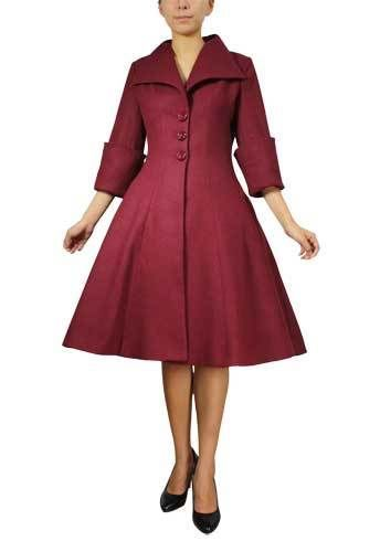Chicstar Retro 1950s Look Burgundy Wool Coat - Fitted Waist Flared Skirt