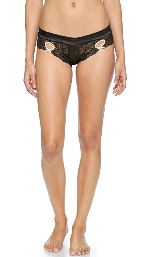 Heidi Klum Zoe Bikini Briefs | Lace and sateen bring a delicate quality to these Heidi Klum Intimates briefs, and flirty keyholes add a daring finish. Jersey gusset. Sheer. Shell: 91% polyester/9% elastane. Trim: 90% polyamide/10% elastane. Hand wash. Imported, China.