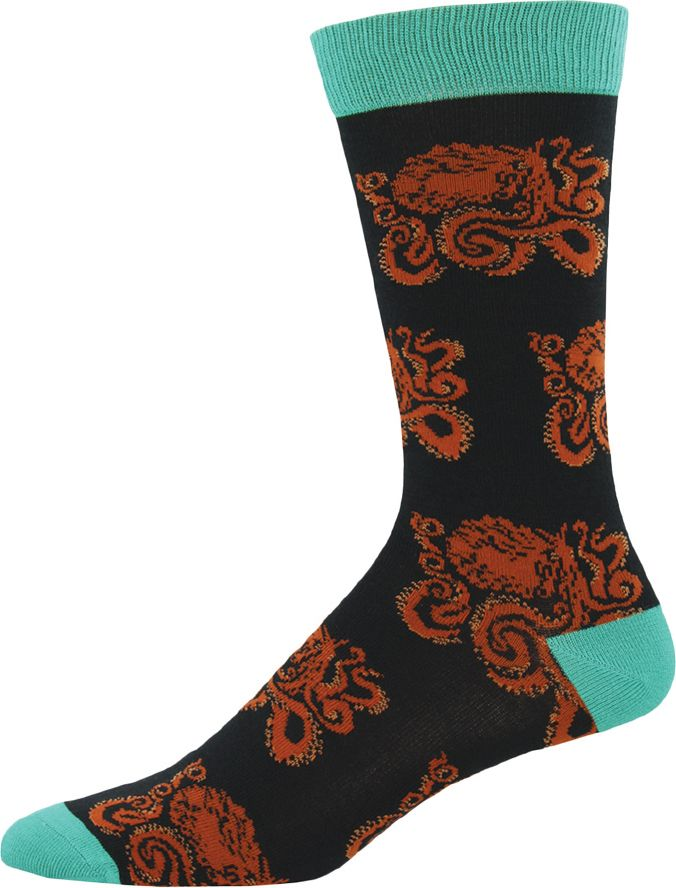 Octopus flex their arms on these nautical socks for men.